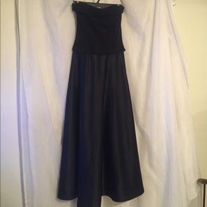 Beautiful black satin and velvet strapless dress